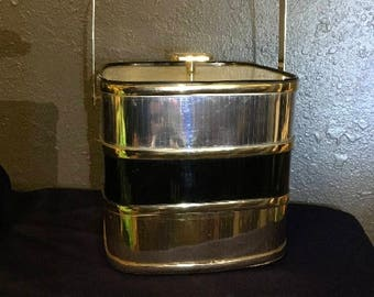 Vintage Culver Ice Bucket with Lid.  Black and Gold.