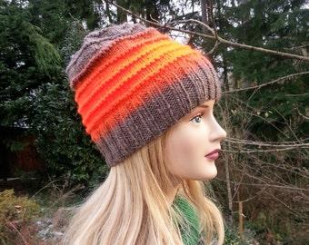 Handmade Women Hat. Bright Orange, Beige Hand Knit Beanie. Unique handmade knitted hat. Wool Winter Hat. Gift for Her.