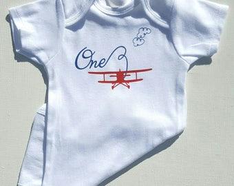 Airplane Birthday Shirt, Multiple Ages Available + Family Set, Vintage Plane, Biplane Tshirt, Airplane One, boys birthday bodysuit, Ages 1-4