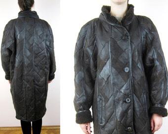 vintage leather patchwork design winter coat  M L