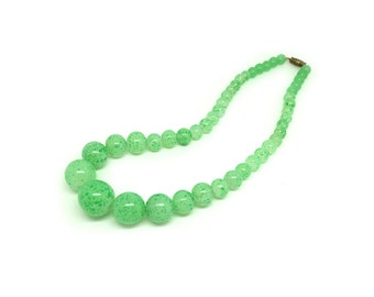 Vintage 1950s Necklace | Green Necklace | Glass Necklace | Vintage Necklace | Statement Necklace | Beaded Necklace
