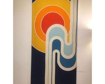 Mid-Century Colorful Pop Art Fabric on Canvas