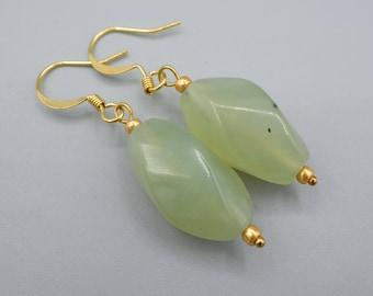 Jade Earrings,  green Jade Earrings,  gold plated, minimalist, simply earrings