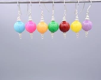 Jade Earrings, yellow Earrings, pink Earrings, red Earrings , apricot Earrings , green Earrings , minimalist