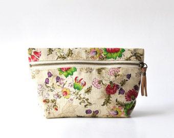 Makeup Bag, Cosmetic Bag, Makeup Pouch, Zipper Pouch ~ Vintage Lotus