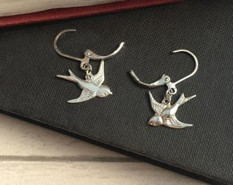 Bird Earrings, Bird jewellery, swallow earrings, bird dangle earrings, tattoo style swallows, Vintage style bird jewellery