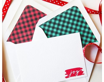 "Buffalo Plaid Check Holiday Thank You Card - Small Notecard (4Bar Siz 5""x3.5"") - Sold in Sets of 4 or 8"