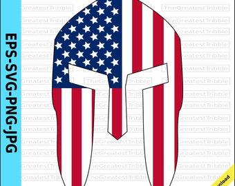 Spartan Helmet Front  USA Flag American Flag eps svg png jpg Vector Graphic Clip Art