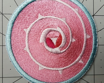 """Rose Quartz Shield Patch Steven Universe Inspired Cosplay Costume Embroidered Patch - Sew-On or Iron-On - W 3"""" x H 3"""""""