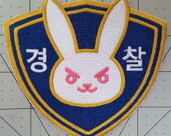 Police Officer D.Va Bunny Shoulder Emblem Overwatch Inspired Embroidered Cosplay Costume Police Officer D.Va Patch Set - Sew On or Iron On