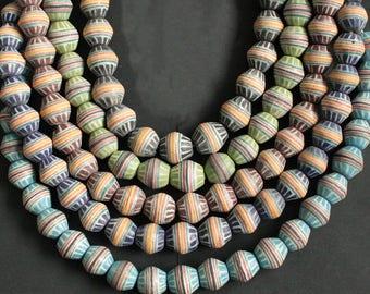 Jumbo Bi-cone African Beads, Krobo Ghana Recycled Glass,  20 mm