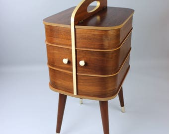 Mid century sewing box sewing box sewing table side table Danish design sewing box vintage 60s