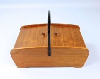 Vintage sewing box, sewing box wood, Sewing box wood, Germany 60 years