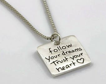Brand New .925 Follow Your Dreams Trust Your Heart Necklace