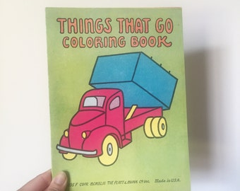 Vintage 1943 Things That Go Coloring Book : Unused - OSVHG0007