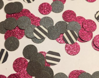 Pink Charcoal Glitter Party Confetti