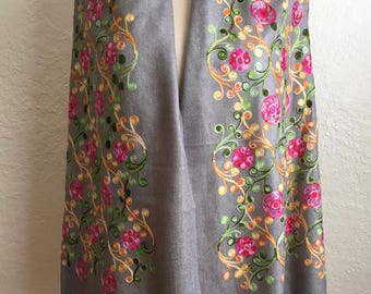 Hand Embroidered Gray Floral Shawl