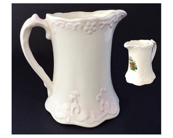 Vintage White Ceramic Beverage Pitcher Decorated with Raised Filigree and Strawberries