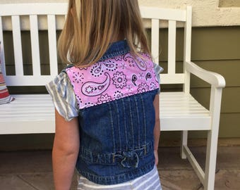 Toddler Denim Vest w/ Pink Bandana Print (3T) | custom denim | cowgirl | girls denim vest | jean vest