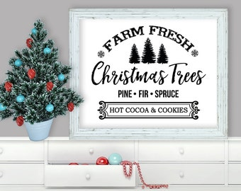 Printable Wall Art, Farm Fresh Christmas Trees, Christmas, Home Decor, Instant Download