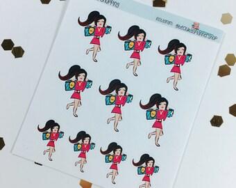 Kaju goes shopping- hand drawn stickers