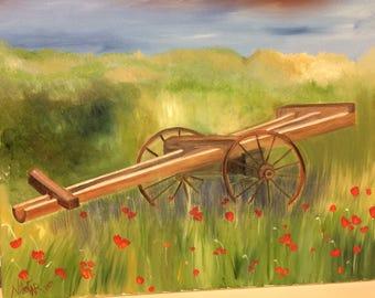 Wagon and wild poppy