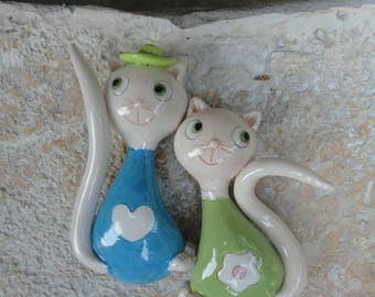 Set of two ceramics magnets cats-gifts for cat lovers- Kitchen decor-cats gift