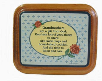 Grandma Gift, Vintage Grandmother Plaque Wood Sign Wall Decor 6 X 5