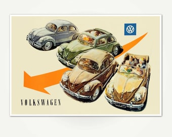 Volkswagen Beetle Advertising Poster Print - Vintage Volkswagen / VW Beetle Poster Art