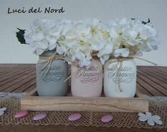 "Set painted vases ""THREE CONFETTI"" table runner-Communion – baptism-wedding-Home Decor"