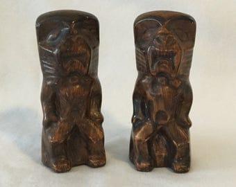 Vintage Pair Of Ceramic Tiki Statue Figural Salt And Pepper Shakers