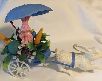 Vintage Plastic Easter Rabbit Pulling Easter Bunny in Egg Cart