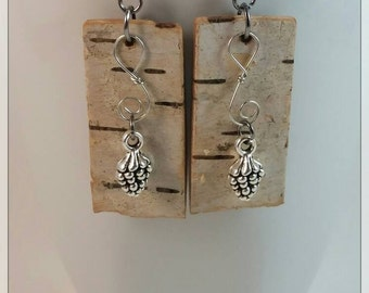 Birch Bark Earrings with Pinecone Charms