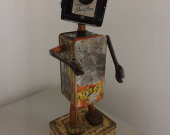 Up-cycled metal vintage tin robot