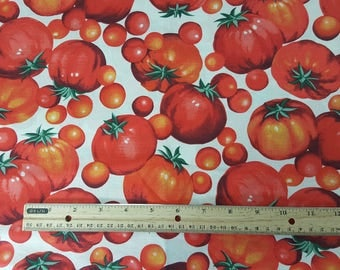 Tomato Fabric, by the HALF yard, Food Fabric, Cook, Foodie, Gardening, Tomato, Veggie, Vegetable, Quilting
