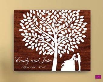Rustic wedding guest book alternative canvas or poster, Wedding Tree with couple silhouette, Wooden wedding guest book alternative canvas