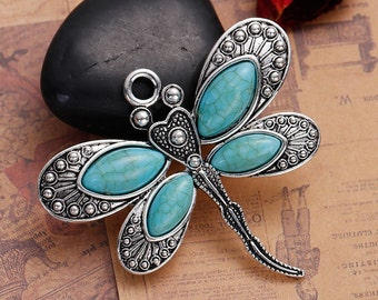 Antique Silver Dragonfly Pendant with Faux Turquoise Stones, Pack of 2 (1795)