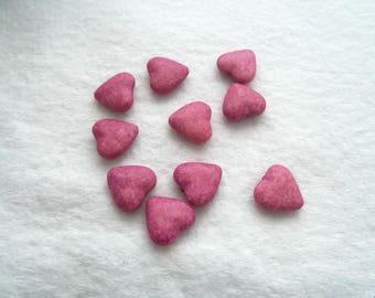 15 mm x 14 mm Acrylic Puffed Heart Beads - Magenta (1339B)