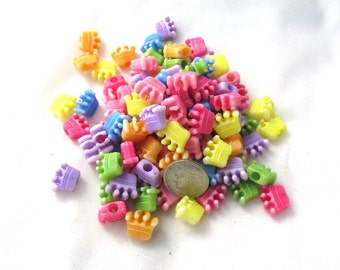 100 Assorted Color Acrylic Crown Beads (s7e)