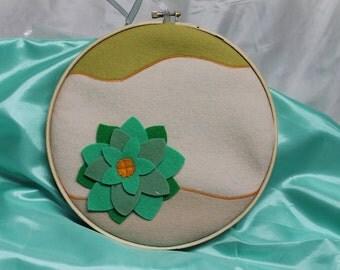 Felt art, hoop art, felt hoop art, felt painting, succulent art, felt succulent