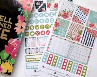 Mini Happy Planner sticker kit, planner stickers, weekly kit, floral weekly kit,bright floral stickers, floral stickers, watercolor stickers