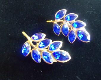 Blue Crystal Clip On Earrings - Blue Rhinestones