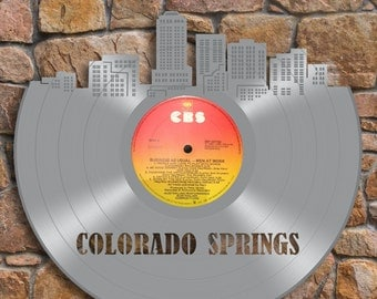 Colorado Gift, House Decor, Unique Art, Colorado Springs Wall Decoration, Recycled Wall Hanging, Vinyl Record, Creative Gift, Personalized