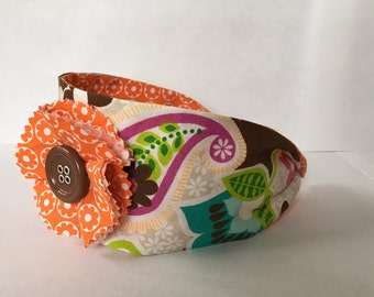 Girls Headband, Retro Headband, Paisley Headband, Fabric Headband, Flower Headband, Child Headband, Spring Headband, 70's Headband