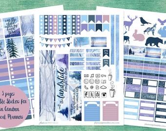 Landslide - XL Printable Sticker Kit - Stickers for Erin Condren Vertical - Instant Download- Watercolor Landscapes - Fleetwood Mac