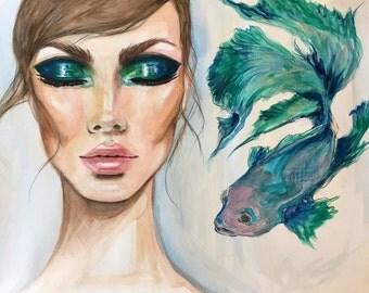 Turquoise aquatic mermaid Inspiration Original Watercolor Fashion Illustration Painting