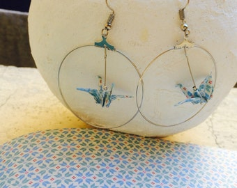 """Earrings Creole """"vintage"""" white, blue and silver origami birds"""