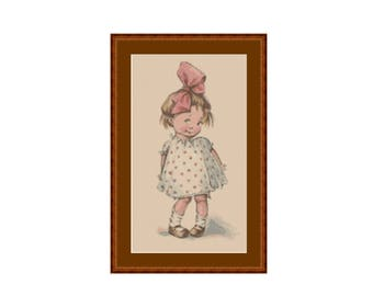 Shy Little Girl Cross Stitch Pattern, Charles Twelvetrees, Instant Digital Download Cross Stitch Chart (P-093)