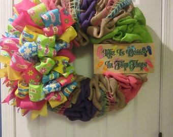 Life is Better in Flip Flops/ Summer Wreath/ Beach Wreath