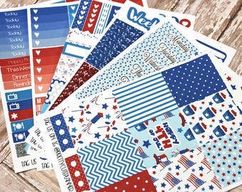 Planner Stickers - Fits Erin Condren Vertical - Fourth of July Planner Stickers - Ala Carte Weekly Stickers - 4th Of July Planner Stickers